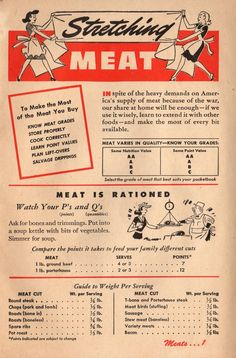 Stretching Meat: 1943 Betty Crocker Your Share - Wartime Meal Planning Retro Recipes, Old Recipes, Vintage Recipes, Family Recipes, War Recipe, Wartime Recipes, Depression Era Recipes, Vintage Housewife, Victory Garden