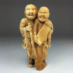 Ivory Netsuke Of Kanzan & Jittoku (Japan)