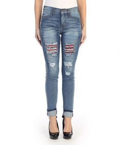 Look what I found on #zulily! Medium Blue & Plaid Distressed Mid-Rise Skinny Jeans by Kan Can #zulilyfinds