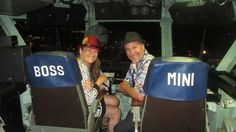 Boss  and Mini, in the captain's seats aboard floating aircraft carrier museum USS Midway - Photo from Patty Mooney of San Diego video production company Crystal Pyramid Productions