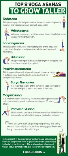 Here're the best yoga asanas to increase height fast and get taller naturally. These yoga exercises for height growth are helpful for both males and females to become taller. Get Taller Exercises, Stretches To Grow Taller, Yoga Exercises, Gym Workout For Beginners, Gym Workout Tips, Workout Videos, Increase Height Exercise, Tips To Increase Height, How To Become Tall