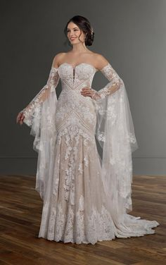 Bohemian Lace Fit-and-Flare Wedding Dress with Detachable Be.- Bohemian Lace Fit-and-Flare Wedding Dress with Detachable Bell Sleeves – Martina Liana 1147 Bohemian Lace Fit-and-Flare Wedding Dress with Detachable Bell Sleeves by Martina Liana - Ethereal Wedding Dress, Bohemian Wedding Dresses, Princess Wedding Dresses, Fall Wedding Dresses, Wedding Gowns, Beige Wedding Dress, Martina Liana Wedding Dresses, Elven Wedding Dress, Gypsy Wedding