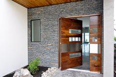 extra wide contemporay front door   entry--extra wide contemporary glass, wood & stainless front door ...