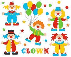 Funny Bright Clowns Clip Art Set, Cirsuc Clipart, Balloons Digital Clip Art - Instant Download