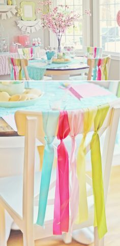 Simple way to decorate chairs for a party! Easter spring party via KarasPartyIdeas.com