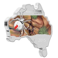 Australian Map Shaped coin Red Back Slider 1oz silver proof 2015 reverse