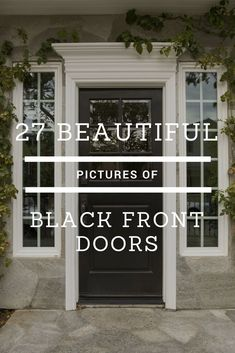 Get a striking black door for your home's front door. It pops just like a red or navy blue door. Very cool ideas here. Black Front Doors, Modern Front Door, Exterior Front Doors, House Front Door, Painted Front Doors, Front Door Design, Front Door Colors, House With Porch, Front Entry