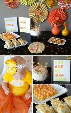 Orange and Yellow Sunshine Party by Haeley @ Design Inmprovised! #hwtm #youaremysunshine