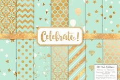 Gold Foil Digital Papers in Mint by Amanda Ilkov on @creativemarket