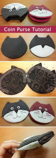 DIY Un porte-monnaie à tête de chat. (Coin Purse with Zipper Sewing Pattern. DIY tutorial in pictures) (http://www.handmadiya.com/2015/09/zipper-coin-purse-tutorial.html)
