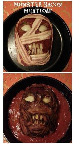 Meatloaf Zombie Monster This looks disgusting! It's the perfect Halloween Dinner! Scare your family something silly with this delicious spin on meatloaf recipe! Make a Zombie face from meatloaf! Easy instructions to tell you how to do it step by step!