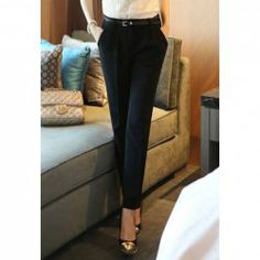 Skinny Polyester Solid Color Sophisticated Style Women's Pants
