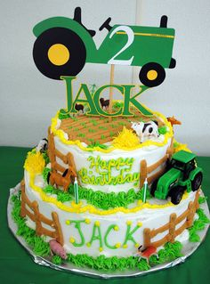 John Deer Tractor Cake Topper - Fully Customizable Unique for Birthday Parties, Baby Showers, Special Occasions. $12.00, via Etsy.