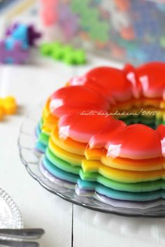 HESTI'S KITCHEN : yummy for your tummy: Rainbow Pudding Resep Cake, Indonesian Cuisine, Asian Desserts, Cookie Desserts, Kitchen Recipes, A Food, Delicious Desserts, Cake Recipes, Favorite Recipes