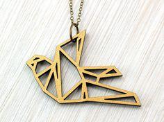 Wendekette  – Origami Vogel  – gold und schwarz – Origami Schmuck, Origami Kette, Origami Kranich, Taube, Schwalbe, beidseitig, Holzschmuck