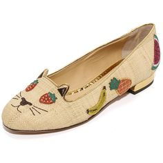 Charlotte Olympia Fruit Kitty Flats (1.295 BRL) ❤ liked on Polyvore featuring shoes, flats, embroidered shoes, charlotte olympia shoes, metallic flat shoes, embroidered flats and leather sole flats