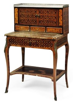 A LATE LOUIS XV TULIPWOOD, AMARANTH, SYCAMORE, PARQUETRY AND MARQUETRY BUREAU DE DAME -  BY ANDRE LOUIS GILBERT, MID 18TH CENTURY AND LATER.
