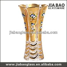 Electroplating glass vase with decal flower