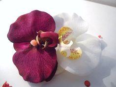 CLIP CORSAGE PINCE CHEVEUX DOUBLE ORCHIDEE BORDEAUX IVOIRE fleurs artificielles