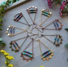 Sunburst Earrings in Antique Brass Fiery Yellow