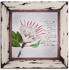 Protea  raam Diy Home Crafts, Arts And Crafts, Wall Canvas, Wall Art, Art Projects, Project Ideas, Houseplants, Ramen, Africa