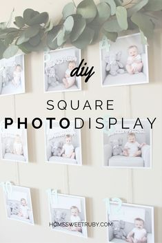 Home Sweet Ruby: DIY : What you'll need: Dowel Rod Thread or some sort of thin rope Square photos Tape (regular or washi tape) Birthday Picture Banner, Birthday Picture Displays, Birthday Display, Birthday Garland, 1st Birthday Pictures, Birthday Diy, Boy Birthday Parties, Birthday Balloons, Party Pictures