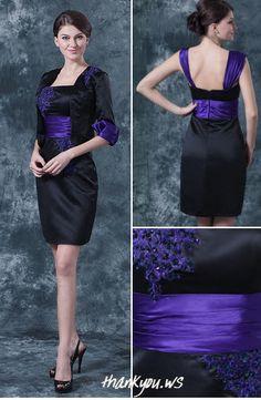 Rochii elegante negre scurte cu broderie si brau mov in jurul taliei