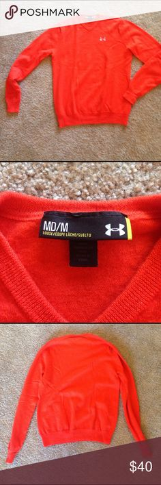 Orange Under Armour sweater Nothing wrong with it - just a little too small. Like new! Under Armour Sweaters V-Neck