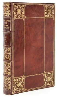 """Anthologie des Poètes Françaises du XIXeme Siècle first few leaves spotted, panelled niger morocco gilt, floral squares at corners repeated within compartment of spine, title-page, t.e.g., [by Florence Kinkelin], """"first prize"""" sticker with her name inside upper cover, 8vo, Paris, [c.1890]."""
