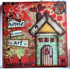 Crafty Little Pigtails: Mixed Media canvases.part 2 Mixed Media Collage, Mixed Media Canvas, Collage Art, Paper Collages, Painting Collage, Kunstjournal Inspiration, Art Journal Inspiration, Altered Canvas, Altered Art