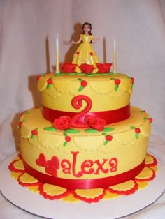 just do a yellow round cake with a little princess topper