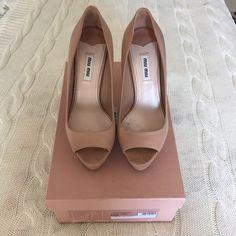"miu miu blush nude peep toe platform heels Light signs of wear. 5"" heel with 1"" front. Comes with original box Miu Miu Shoes Heels"