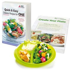 If you're new to diabetes and meal planning for one, then this is a wonderful place to start. We paired Create Your Plate: An Easy Way to Eat Well, Quick & Easy Diabetic Recipes for One and Precise Portions Go Healthy Travel plate for easy meal planning.