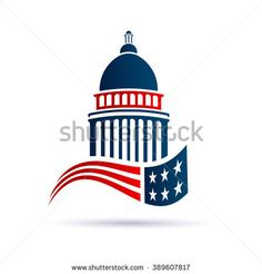 """""""Capitol building logo with american flag. Vector design"""""""