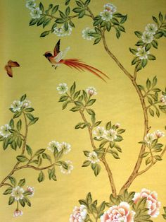 Chinoiserie Papers » Chinoiserie Garden | Griffin & Wong | Elegance in Silk Hand Painted Wallpaper Design