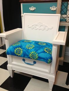 two drawer chest turned into a chair, with one drawer still for storage!