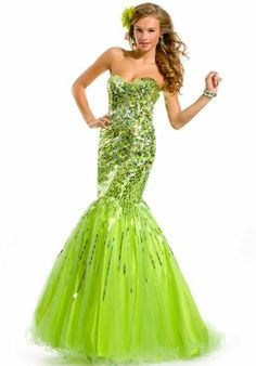 Party Time Gown 6001 Prom Dress - Wholesale - 2013 Lime Green Tulle Shiny Sparkling Crystals Beads Sequins Sweetheart Corset Prom Gowns 2014 Cheap Sexy Mermaid Pageant Ceremony Dresses
