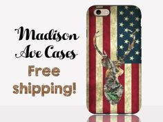 Camo Deer Flag America USA Country Hunting Vintage Guy's Men's Redneck 'Merica Note Galaxy S6 S7 Edge iPhone SE 4 5s 6 Plus Tough Phone Case