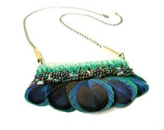 Hand embroidered Peacock Feather Necklace / Green Mint by jujujust