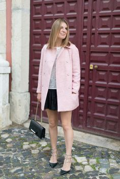 Coat by Zara Skirt by Étoile Isabel Marant Top by Roseanna Heels by Valentino Bag by Valentino Ring by Cartier Bracelet by Chan Luu Invisibl...