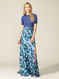 Silk Slit Hem Maxi Skirt by Peter Som at Gilt