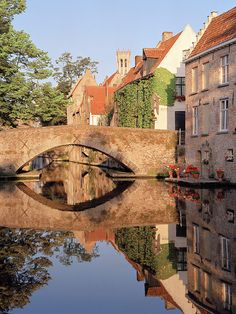 European photo of stone bridge and reflections in Brugges, Belgium by Dennis Barloga | Photos of Europe: Fine Art Photographs by Dennis Barloga