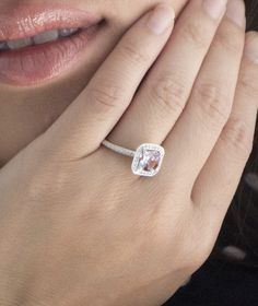 14K White Gold Cushion Cut Morganite Diamond Halo Engagement Ring. = beautiful - love the pink morganite in place of a white diamond with the small baby diamonds surrounding it...totally an acceptable alternative!