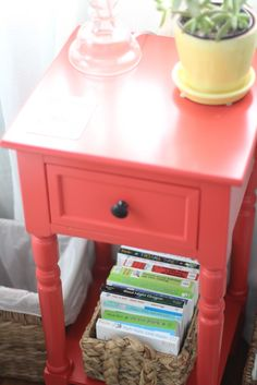 coral side table.