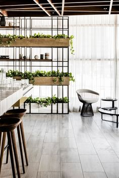Combining modern design with industrial decor. Over twenty iron and wood industrial shelving designs for you to feed your design ideas. Office Interior Design, Office Interiors, Shelving Design, Shelving Decor, Modern Shelving, Industrial Shelving, Timber Ceiling, Space Dividers, Wood Home Decor