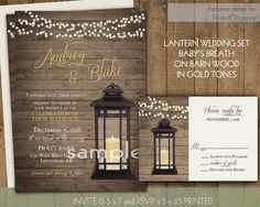 lantern wedding invitations rustic country wedding invitations babys breath in lantern gold accents - Lantern Wedding Invitations