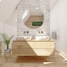 Elegantní koupelna DUO ATTICO   Elegant bathroom DUO ATTICO #bathroom #koupelna #podkrovi #attic #retro #wooddesign #blue #perfectodesign Vanity, Mirror, Bathroom, Retro, House, Furniture, Design, Home Decor, Google Search