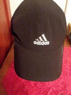 Ball Cap Hat Adidas Adzero Black White Logo One Size Adjustable Strapback   adidas  BaseballCap 0bf7774b673a