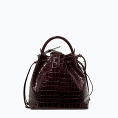 Image 1 of CROC LEATHER BUCKET BAG from Zara