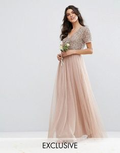 $135 Maya V Neck Maxi Tulle Dress with Tonal Delicate Sequins